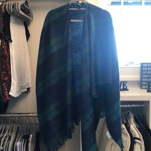Green and Blue Plaid Shawl/ Poncho